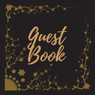 Guest Book - Gold Frame #15 For any occasion Light Green Color Pages 8.5 x 8.5 Inches 82 pages Cover Image