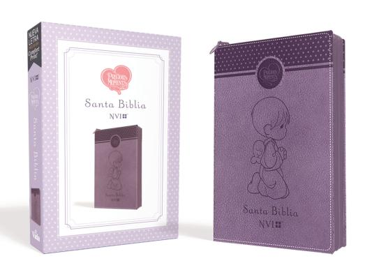 Santa Biblia Precious Moments NVI Angelitos, Ultrafina Compacta Púrpura Con Cierre Cover Image