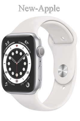 New-Apple: Watch Series 6 (GPS, 44mm) - Silver Aluminum Case with White Sport Band Cover Image