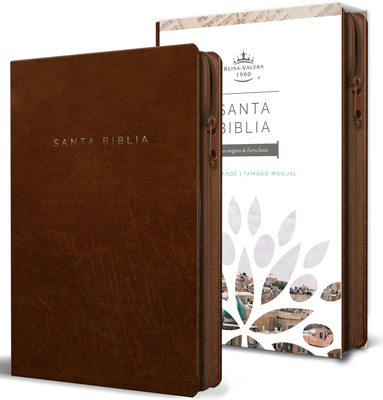 Biblia Reina Valera 1960 letra grande. Símil piel canela, cremallera, tamaño manual / Spanish Bible RVR 1960. Handy Size, Large Print, Leathersoft, Brown Zip Cover Image