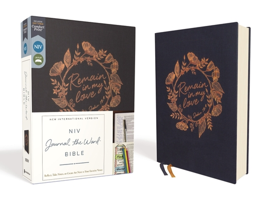 Niv, Journal the Word Bible, Cloth Over Board, Navy, Red Letter Edition, Comfort Print: Reflect, Take Notes, or Create Art Next to Your Favorite Verse Cover Image