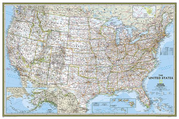 National Geographic: United States Classic Wall Map - Laminated (Poster Size: 36 X 24 Inches) Cover Image