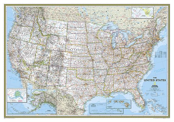 National Geographic: United States Classic Wall Map (43.5 X 30.5 Inches) (National Geographic Reference Map) Cover Image