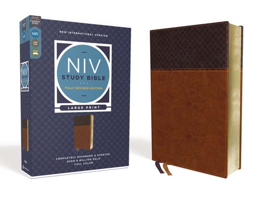 NIV Study Bible, Fully Revised Edition, Large Print, Leathersoft, Brown, Red Letter, Comfort Print Cover Image