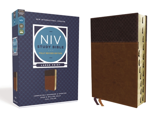 NIV Study Bible, Fully Revised Edition, Large Print, Leathersoft, Brown, Red Letter, Thumb Indexed, Comfort Print Cover Image