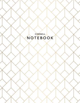 Cornell Notebook: Gold Geometric - 120 White Pages 8.5x11