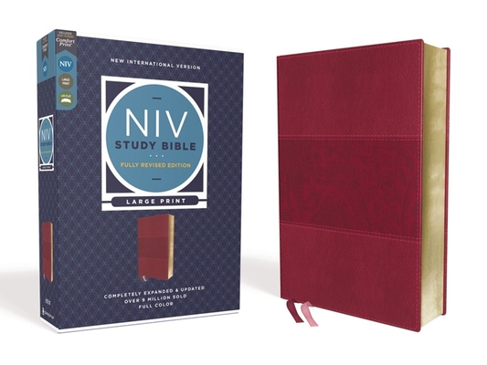NIV Study Bible, Fully Revised Edition, Large Print, Leathersoft, Burgundy, Red Letter, Comfort Print Cover Image