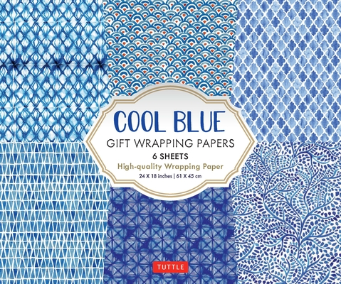 Cool Blue Gift Wrapping Papers: 6 Sheets of High-Quality 24 X 18 Inch Wrapping Paper Cover Image