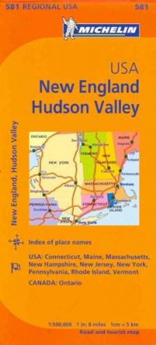 Michelin Usa: New England, Hudson Valley Map 581 (Maps/Regional (Michelin)) Cover Image
