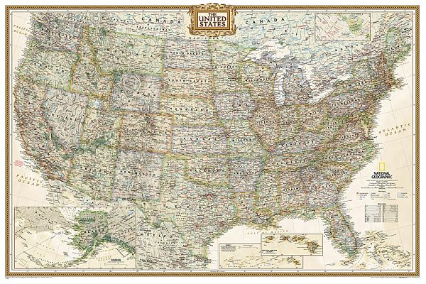 National Geographic: United States Executive Wall Map - Laminated (Poster Size: 36 X 24 Inches) Cover Image