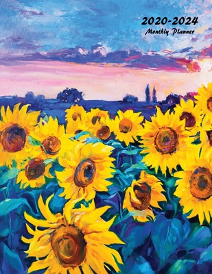 2020-2024 Monthly Planner: Large Five Year Planner with Flower Coloring Pages (Sunflowers) Cover Image