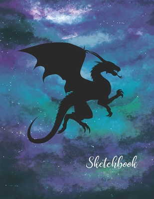 Sketchbook: Activity Sketch Book Watercolor Abstract Painting Instruction Large 8.5 x 11 Inches with 110 Pages (Dragon Watercolor Cover Image