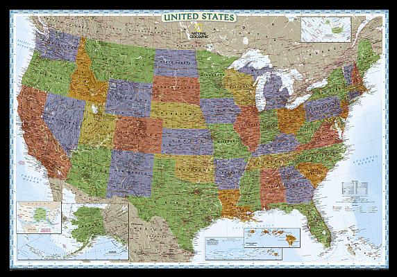 National Geographic: United States Decorator Wall Map (43.5 X 30.5 Inches) (National Geographic Reference Map) Cover Image