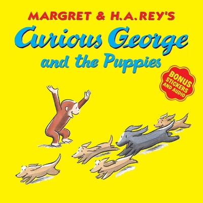Curious George and the Puppies (with bonus stickers and audio) Cover Image