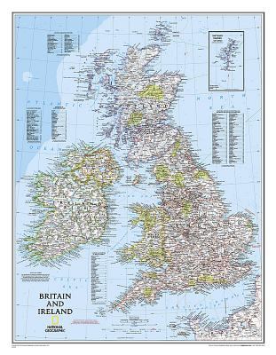 National Geographic: Britain and Ireland Classic Wall Map - Laminated (23.5 X 30.25 Inches) Cover Image