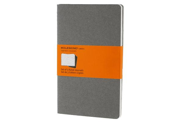 Moleskine Cahier Journal (Set of 3), Large, Ruled, Pebble Grey, Soft Cover (5 x 8.25) (Cahier Journals) Cover Image