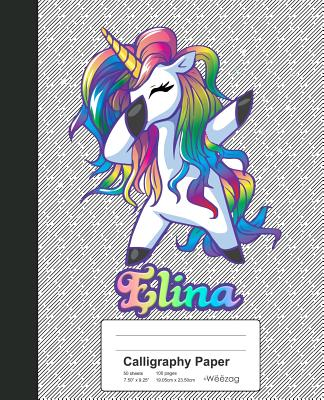 Calligraphy Paper: ELINA Unicorn Rainbow Notebook Cover Image