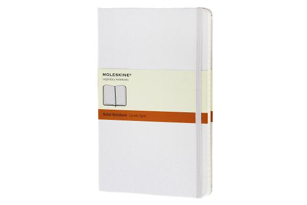 Moleskine Classic Notebook, Large, Ruled, White, Hard Cover (5 x 8.25) (Classic Notebooks) Cover Image