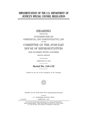 Implementation of the U.S. Department of Justice's special counsel regulation Cover Image