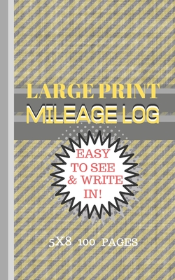 Mileage Log Large Print: Blue Stripes on Beige Background Cover - 5x8 Convient Size-Easy to See & Write In-Perfect for Logging All Your Milage Cover Image