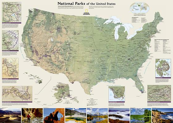 National Geographic: National Parks of the United States Wall Map - Laminated (42 X 30 Inches) Cover Image