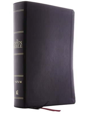 The Niv, Open Bible, Leathersoft, Black, Red Letter Edition, Comfort Print: Complete Reference System Cover Image