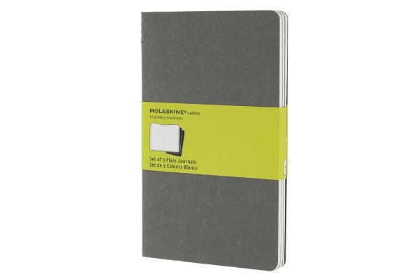 Moleskine Cahier Journal (Set of 3), Large, Plain, Pebble Grey, Soft Cover (5 x 8.25) (Cahier Journals) Cover Image