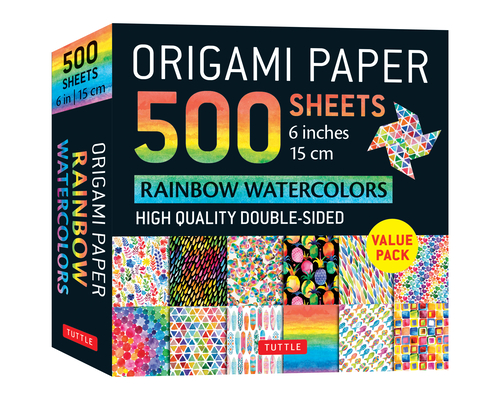 Origami Paper 500 Sheets Rainbow Watercolors 6 (15 CM): Tuttle Origami Paper: High-Quality Double-Sided Origami Sheets Printed with 12 Different Desig Cover Image