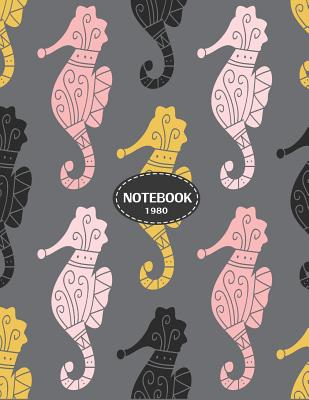 Notebook 1980: Sea horse on grey cover and Dot Graph Line Sketch pages, Extra large (8.5 x 11) inches, 110 pages, White paper, Sketch Cover Image
