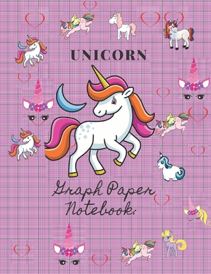Unicorn Graph Paper Notebook: : Quad Ruled 100 Sheets 5 x 5, Paper for Math & Science Students (8.5 x 11) Cover Image