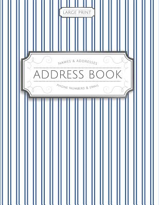 Large Print Address Book: Blue Pinstripes Cover Image