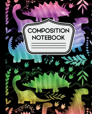 Composition Notebook: Water Rainbow Colorful Dinosaurs on Black Background for Boys 7.5