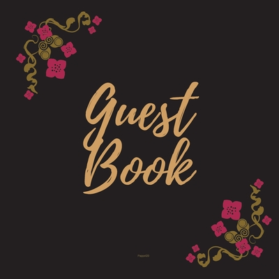 Guest Book - Gold Frame #18 For any occasion Light Green Color Pages 8.5 x 8.5 Inches 82 pages Cover Image
