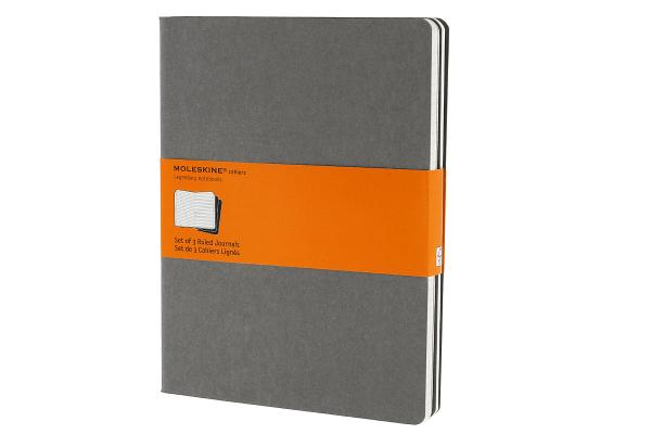 Moleskine Cahier Journal (Set of 3), Extra Large, Ruled, Pebble Grey, Soft Cover (7.5 x 10) (Cahier Journals) Cover Image