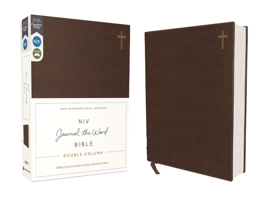 Niv, Journal the Word Bible, Double-Column, Leathersoft, Brown, Red Letter Edition, Comfort Print: Reflect, Take Notes, or Create Art Next to Your Fav Cover Image