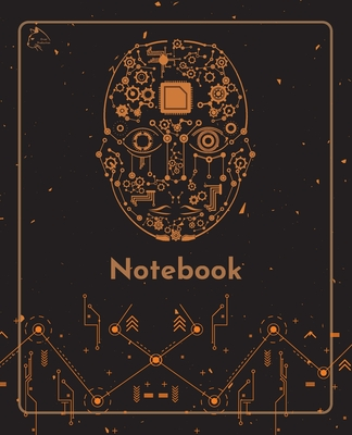College Notebook: Student notebook Journal Diary Robot mechanical face cover notepad by Raz McOvoo Cover Image