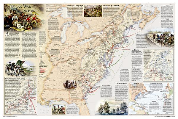 Battles of the Revolutionary War and War of 1812: 2 Sided [folded and Polybagged] (National Geographic Reference Map) Cover Image