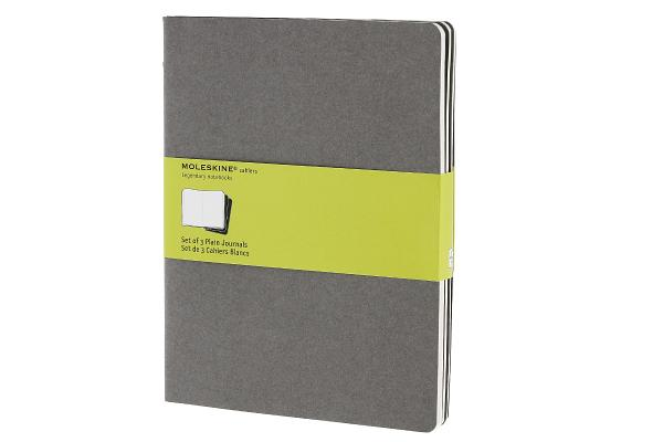 Moleskine Cahier Journal (Set of 3), Extra Large, Plain, Pebble Grey, Soft Cover (7.5 x 10) (Cahier Journals) Cover Image