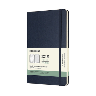 Moleskine 2021-2022 Weekly Planner, 18M, Large, Sapphire Blue, Hard Cover (5 x 8.25) Cover Image