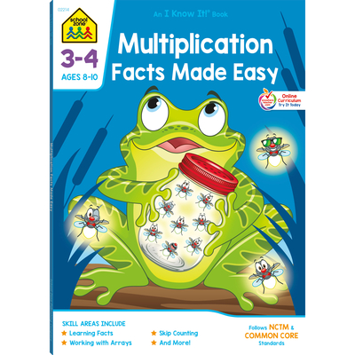 School Zone Multiplication Facts Made Easy Grades 3-4 Workbook Cover Image