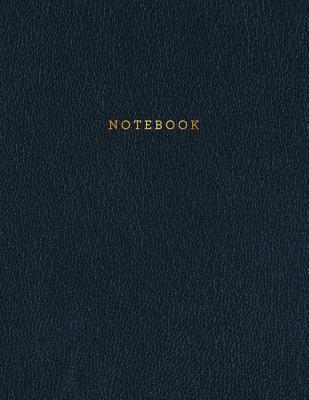 Notebook: Classic Black Leather Style - Gold Lettering - Softcover - 150 College-ruled Pages - 8.5 x 11 size Cover Image