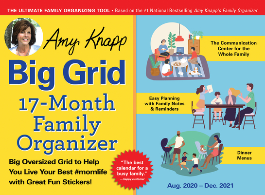 2021 Amy Knapp's Big Grid Family Organizer Wall Calendar: August 2020-December 2021 Cover Image