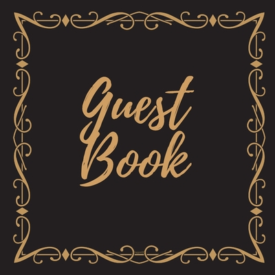 Guest Book - Gold Frame #6 For any occasion Light Green Color Pages 8.5 x 8.5 Inches 82 pages Cover Image