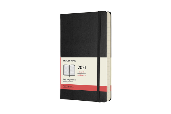Moleskine 2021 Daily Planner, 12M, Large, Black, Hard Cover (5 x 8.25) Cover Image