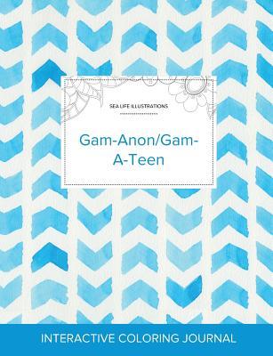 Adult Coloring Journal: Gam-Anon/Gam-A-Teen (Sea Life Illustrations, Watercolor Herringbone) Cover Image