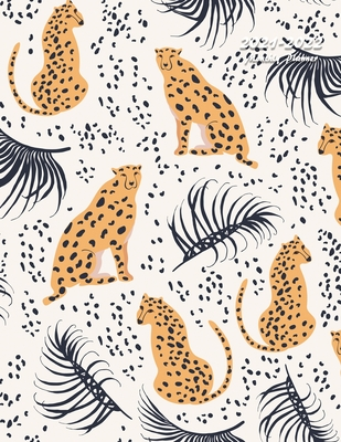 2021-2022 Monthly Planner: Large Two Year Planner (Cheetahs with Palm Leaves) Cover Image