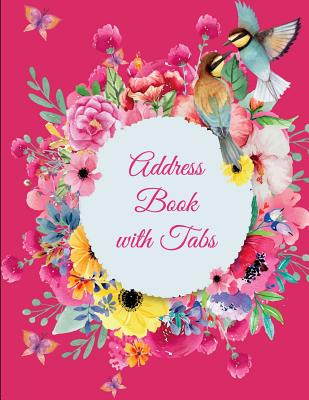 Address Book with Tabs: Pretty Pink Flowers, 8.5