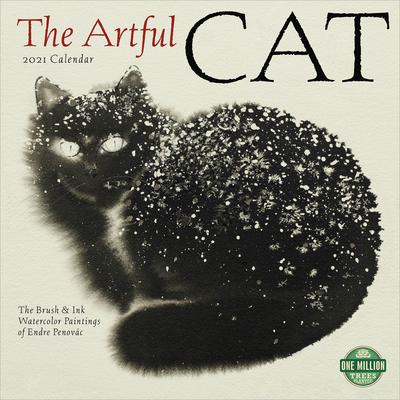 Artful Cat 2021 Wall Calendar: Brush & Ink Watercolor Paintings Cover Image