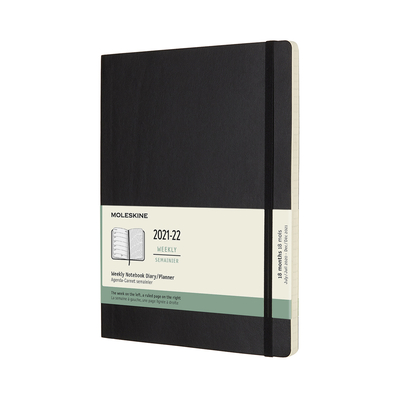 Moleskine 2021-2022 Weekly Planner, 18M, Extra Large, Black, Soft Cover (7.5 x 10) Cover Image