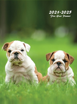 2021-2025 Five Year Planner: Large 60-Month Monthly Planner with Hardcover (Puppies) Cover Image
